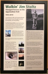 Poster celebrating Walkin' Jim's walks on and support of the Appalachian Trail