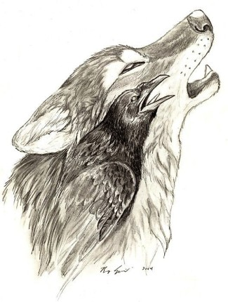 Howling-Wolf-And-Raven-Envious-Of-The-Night-Sky-Waits-For-Star-Fall-From-The-Heaven-Tattoo-Design (1)